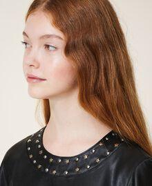 Платье из искусственной кожи со звездочками Черный Pебенок 202GJ2831-04