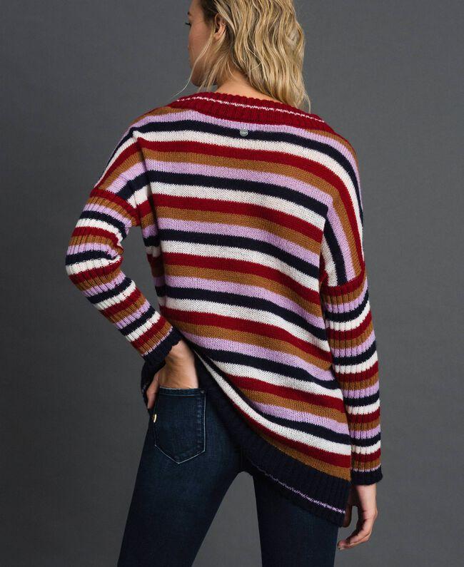 Maxi pull multicolore en laine et mohair Chevrons Rouge «Samba» Femme 192ST3110-03