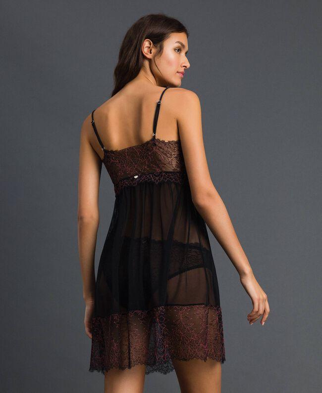 Robe nuisette en tulle et dentelle Noir / Rose «Dolly» Femme 192LI24YY-03