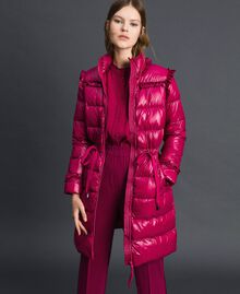 Long quilted padded jacket with real down Beet Red Woman 192TP2201-02