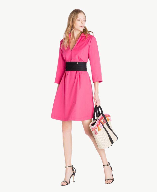 TWINSET Tasche aus Stroh Multicolor Provocateur Pink / Orange / Schwarz Frau OS8THB-05