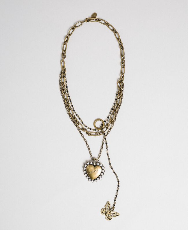 Choker with chains and pendants Aged Brass Woman 192TA4361-01