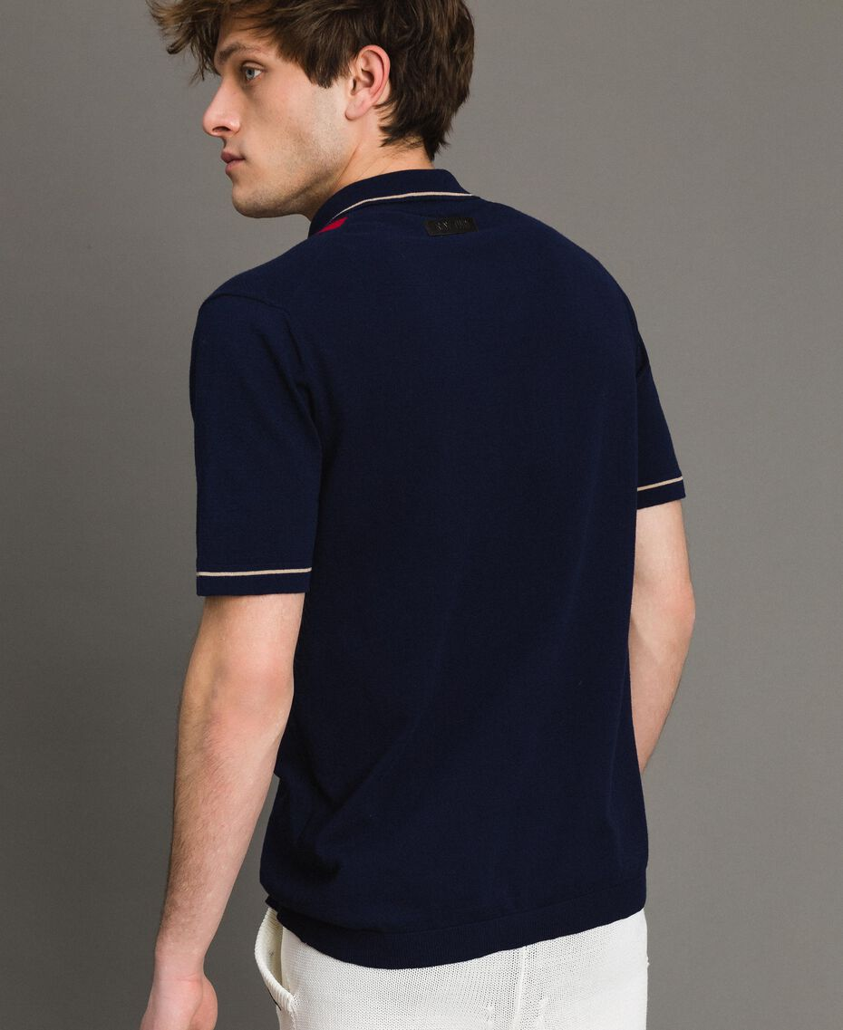 "Crêpe cotton polo shirt with inlay pattern Multicolour ""Blackout"" Blue / ""Dark Raspberry"" Red / Beige Porcelain Man 191UT3021-03"