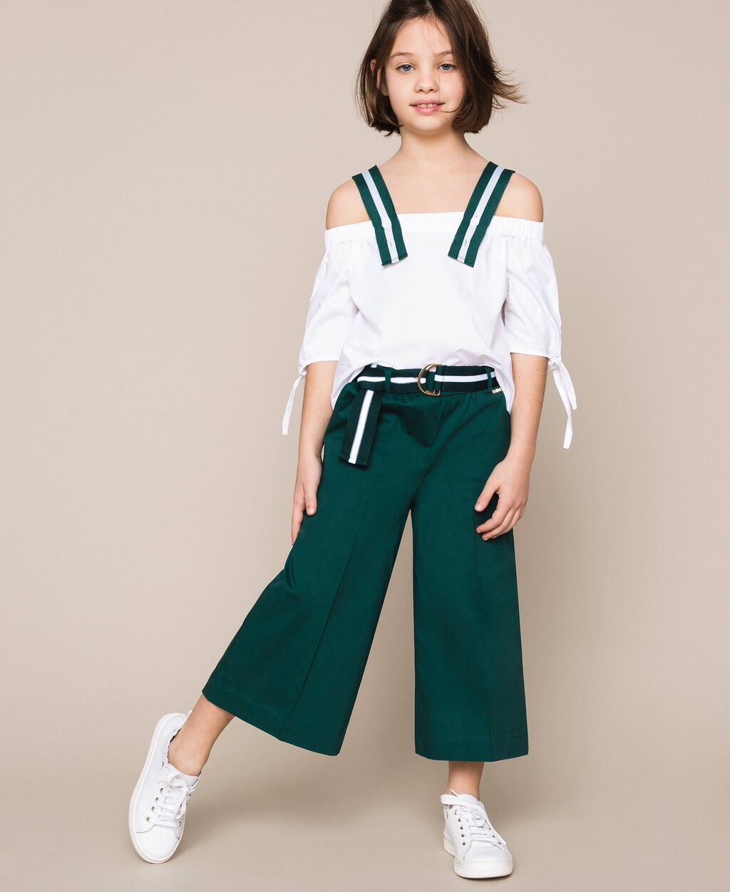 Wide poplin trousers