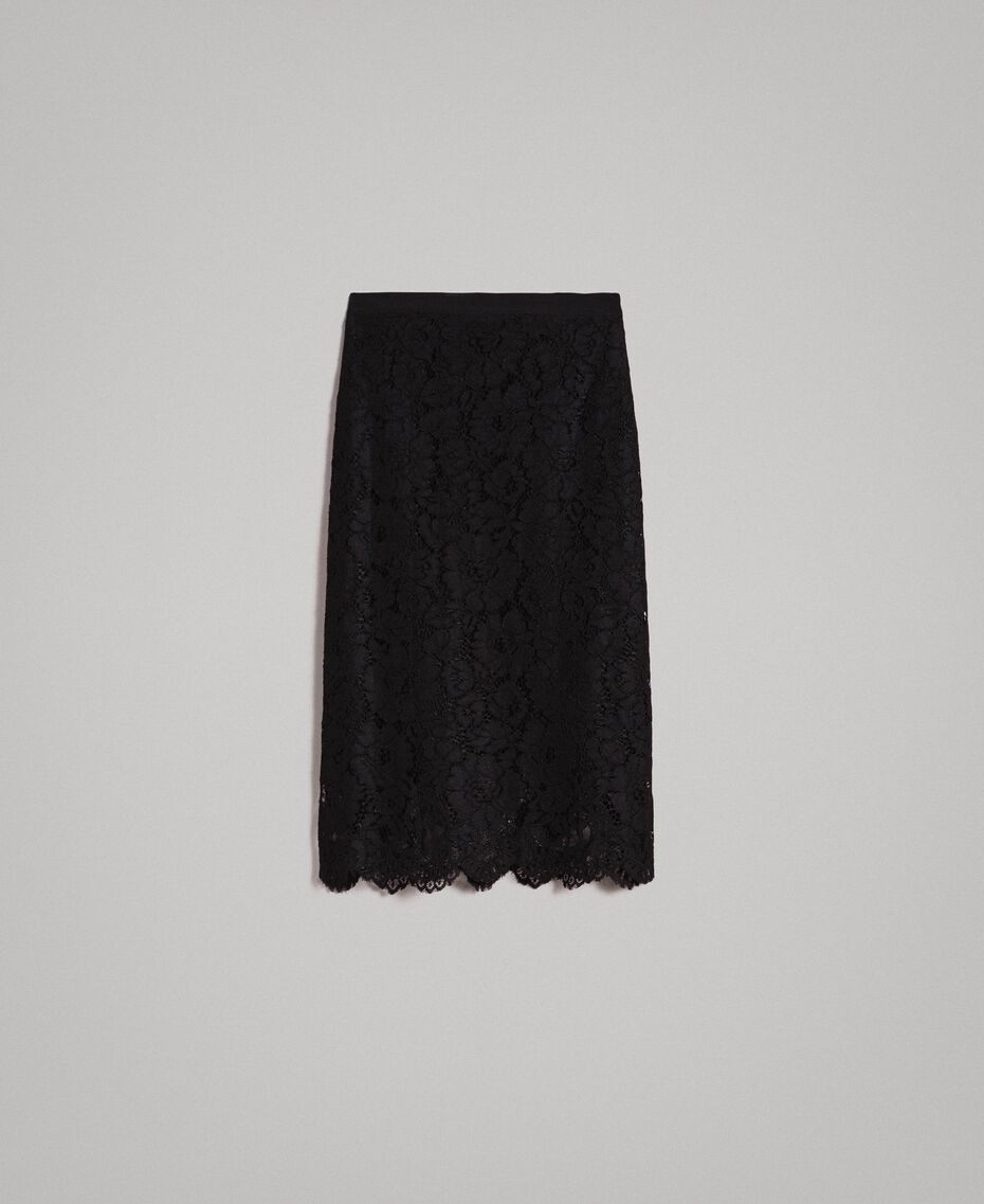 Macramé lace mid-length skirt Black Woman 191TP2253-0S