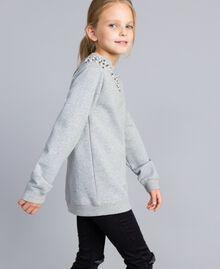 Sweat en coton avec perles et strass Gris clair chiné Enfant GA82V1-03