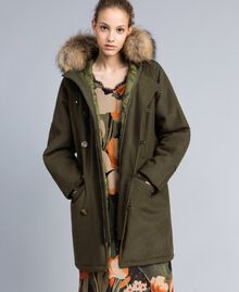 Parka en drap avec col en fourrure Vert Forêt Femme TA821D-02