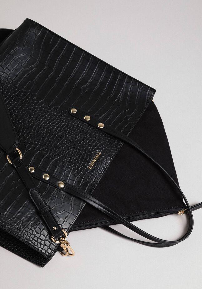 Большая сумка-шоппер с крокодиловым принтом