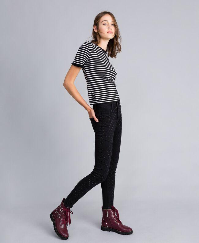 Jeans skinny in denim nero con strass Denim Nero Donna JA82R2-01