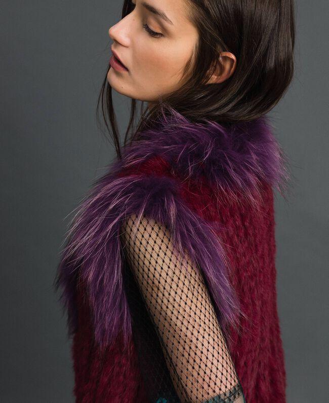 Gilet en fourrure tricot Rouge Betterave / Violet Femme 192TP2010-04