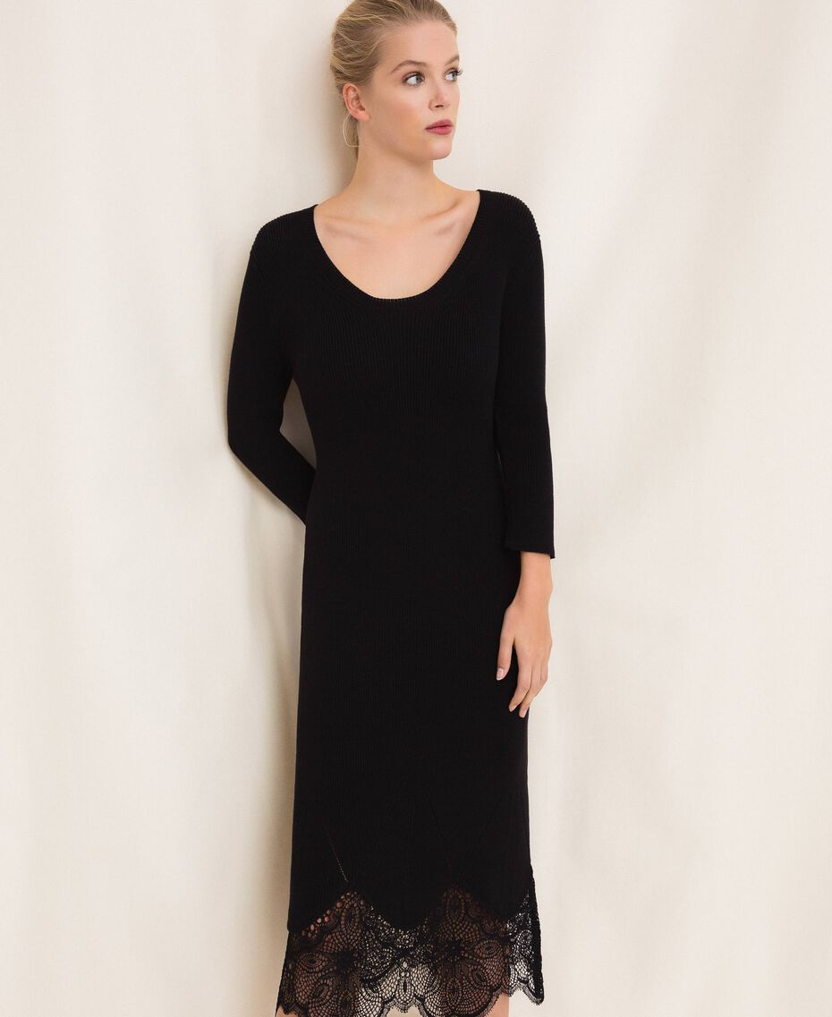 Ribbed sheath dress with lace Black Woman 201TP3120-05