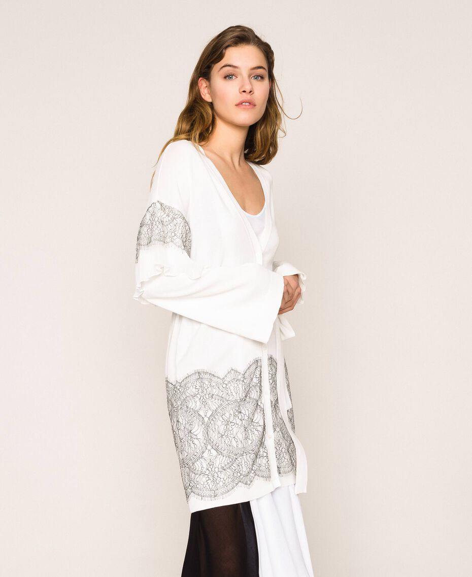 Maxi cardigan avec dentelle bicolore et plissé Blanc Antique White Femme 201TT3140-02