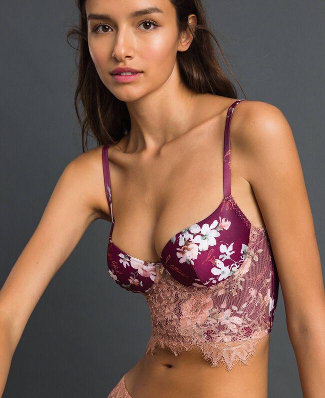 Bustier ampliforme floral avec dentelle Imprimé Fleurs Rouge Violet Femme 192LI6511-01