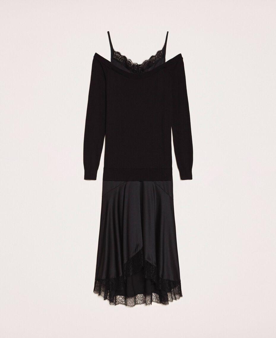 Knit dress with slip effect satin Black Woman 201TP3070-0S