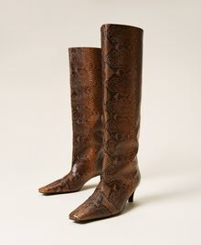 Leather high boots with animal print Leather Whips Print Woman 212TCP180-03