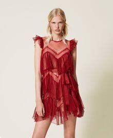 Pleated flounce short tulle dress Dark Raspberry Woman 212TP2201-01