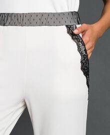 Pantaloni con tulle e pizzo Avorio Donna 192LL2CDD-04