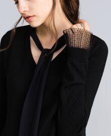 Jersey de lana mixta con tul plisado Negro Mujer SA83AA-04