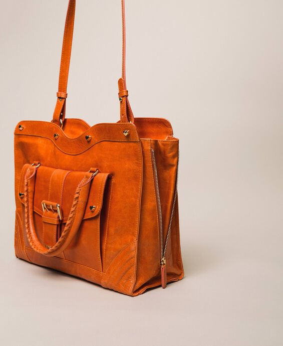 Rebel leather shopper with pocket