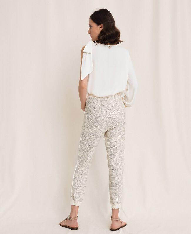Bouclé fabric joggers Multicolour Ivory / Silver Grey Woman 201TP2231-03