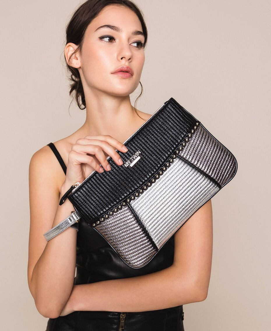 "Multicolour faux leather pochette Multicolour Black / ""Gun Metal"" Grey / Silver Woman 201MA7025-0S"