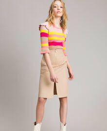 Technical cotton mid-length skirt Nougat Beige Woman 191TP2183-05