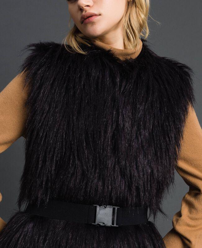 Gilet long en fausse fourrure et drap Noir / Beige «Séquoia» Femme 192ST2031-04