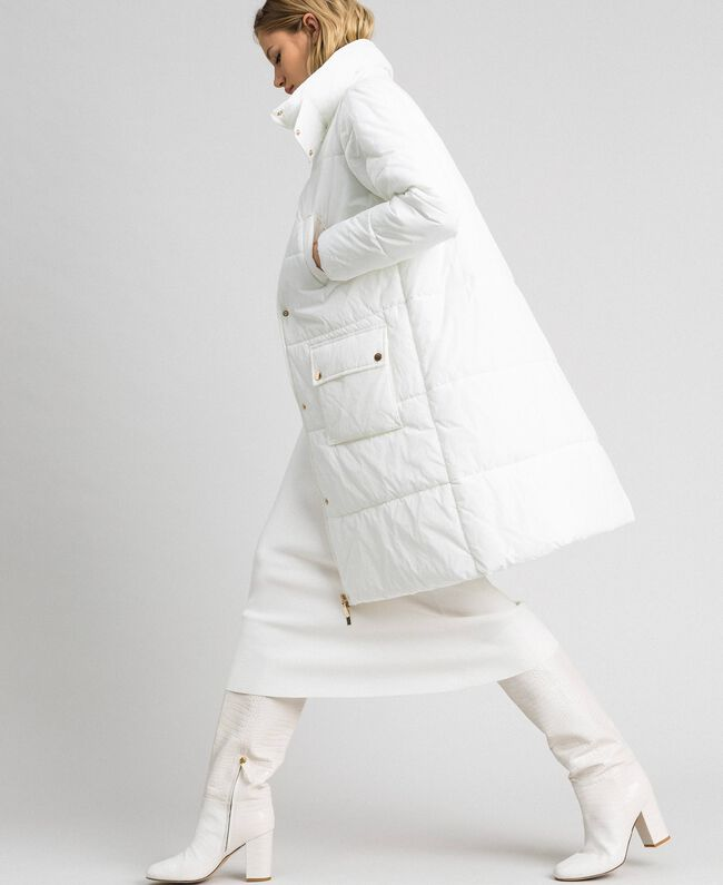 Long puffer jacket with high neck Ivory Woman 192LI2JAA-01