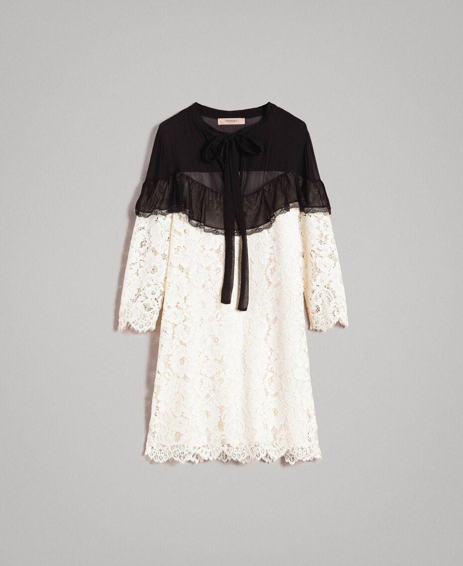 "Macramé lace two-tone dress Bicolour ""Snow"" White / Black Woman 191TP2256-0S"
