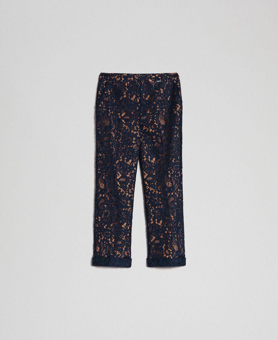 "Macramé lace flared trousers ""Sequoia"" Beige / Night Blue Woman 192ST208D-0S"
