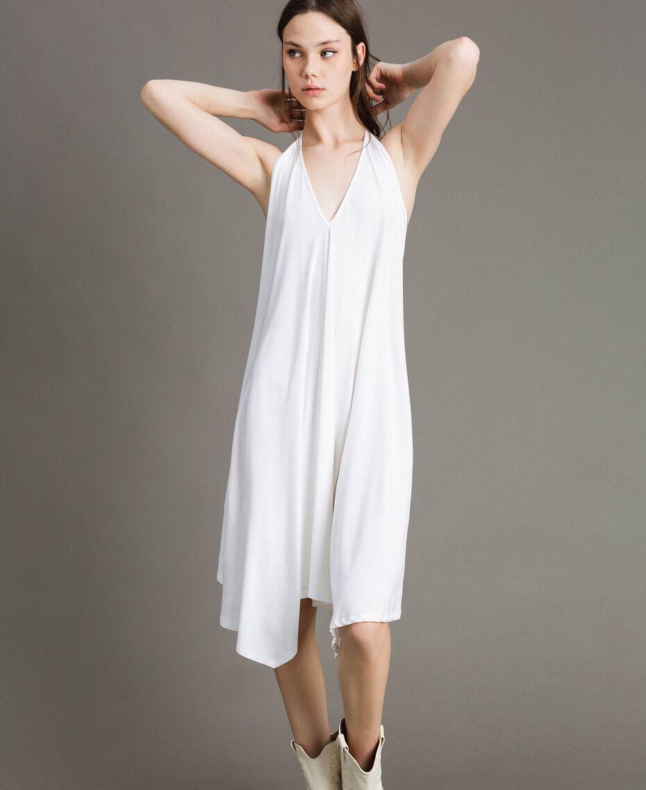 Robe asymétrique en jersey crêpé Blanc Femme 191LB22QQ-05