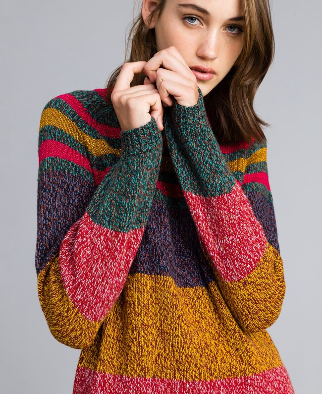 Pullover aus Moulinégarn in Color-Block-Verarbeitung Mehrfarbiger Mouliné Frau YA831B-01