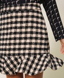Chequered bouclé mini skirt with flounce Two-tone Black / Nude Woman 202ST2153-04