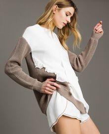 """Maxi jumper with frills Two-tone Optical White / """"Grey Dust"""" Woman 191LL37LL-02"""