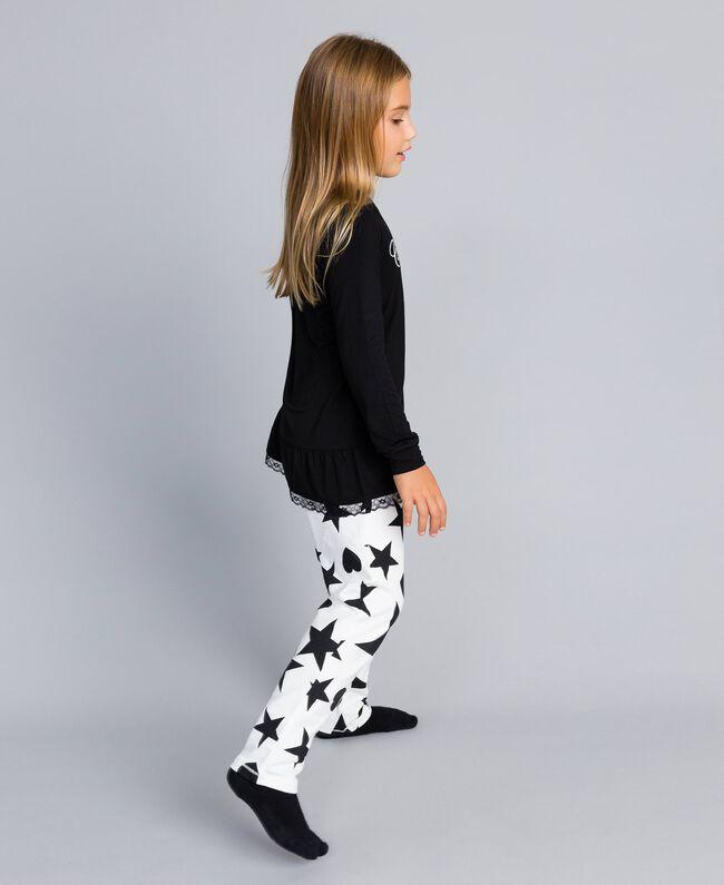 """Pyjama aus Jersey mit Sternen und Herzen Zweifarbig Schwarz / Print """"Sterne"""" Kind GA828E-03"""