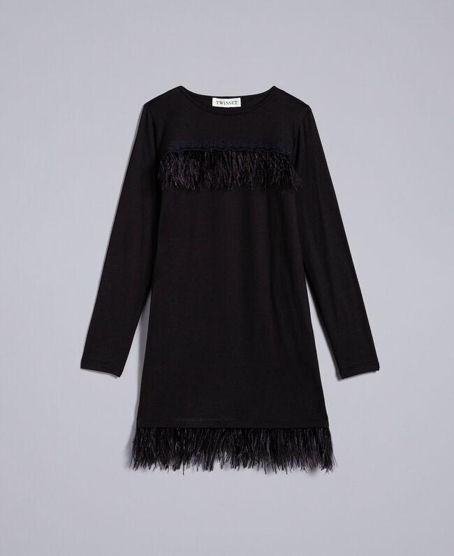 Kleid aus Jersey mit Federn Schwarz Kind GA827A-01