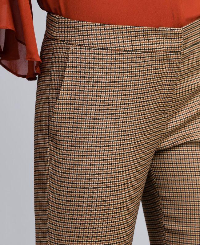 "Wool blend drainpipe trousers ""Burnt"" Orange Small Check Jacquard Woman TA821P-04"