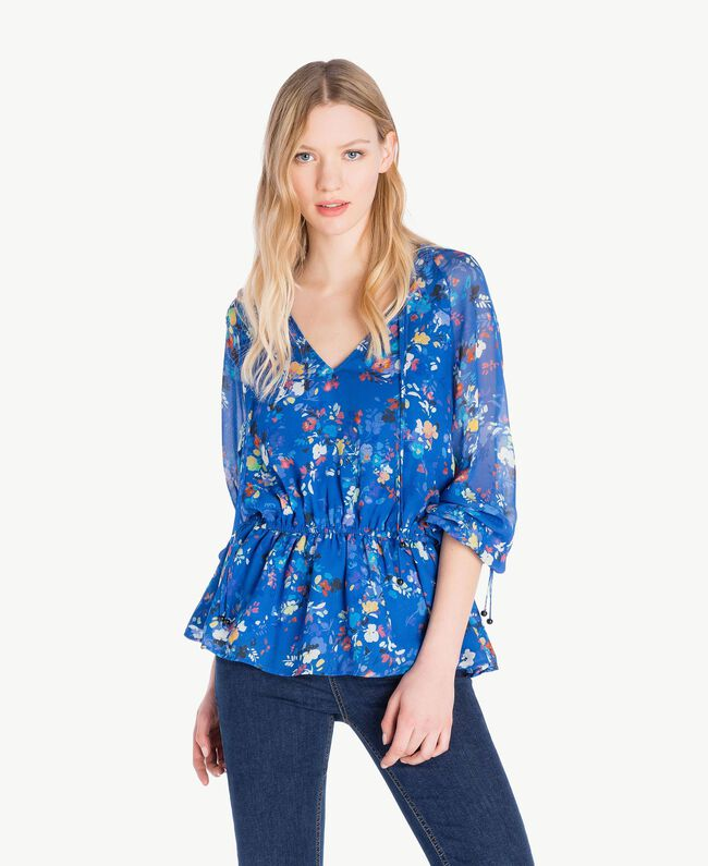 Printed blouse Multicolour Lapis Blue Flowers Woman JS82NN-01