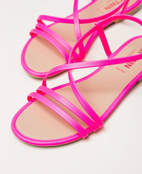 Fluorescent faux leather flat sandals