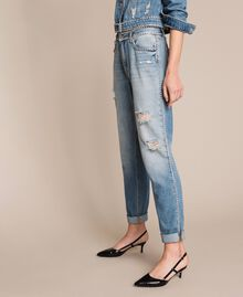 Rhinestone Girlfriend jeans Denim Blue Woman 201MP2275-02