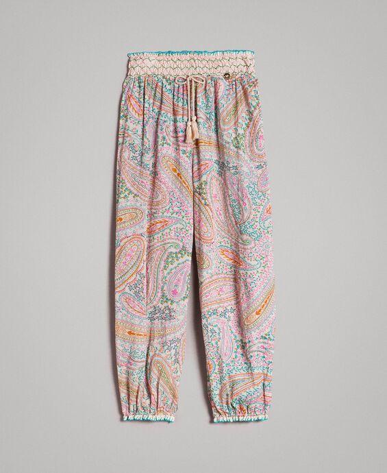 Pantaloni in mussola a stampa cashmere