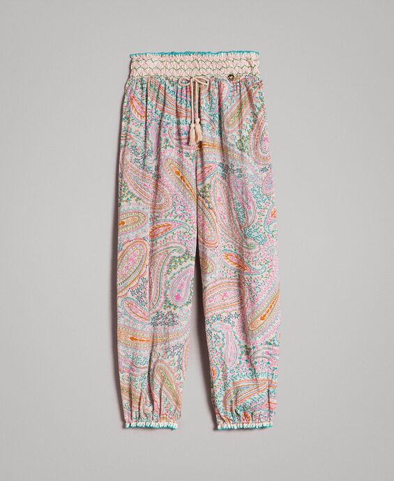 Muslin trousers with paisley print