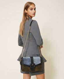 """Large Rebel suede and smooth leather shoulder bag Multicolour Ash Light Blue / """"Olive Green"""" Woman 202TB7052-0S"""