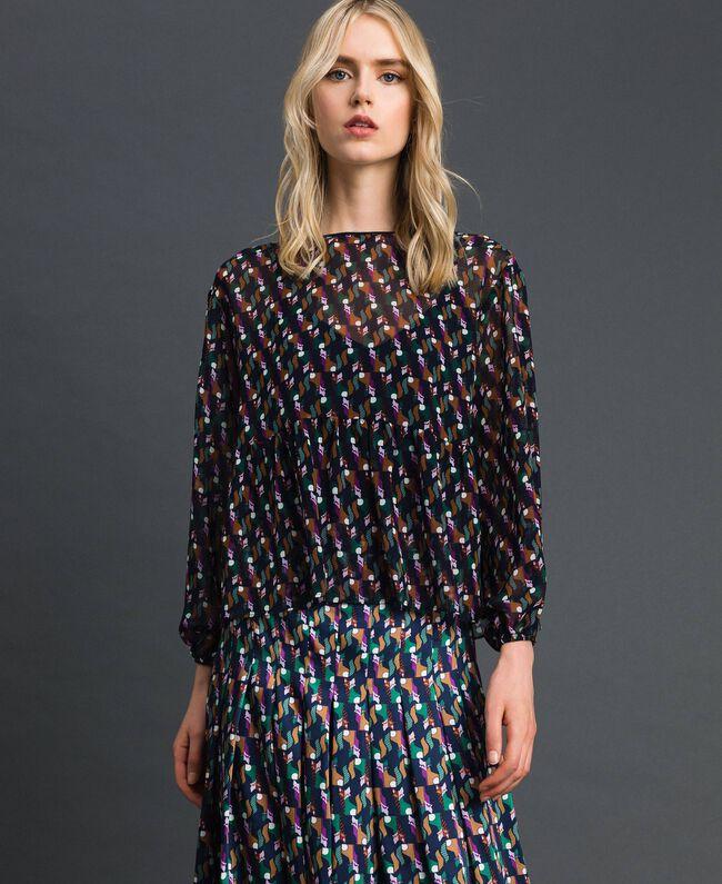 Bluse aus bedrucktem Georgette mit Unterhemd Geometrischer Fuchsprint Frau 192ST2151-03