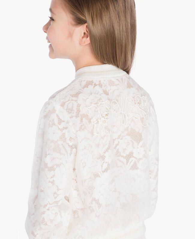 Silk bomber jacket Pale Cream Child GS8LD2-05