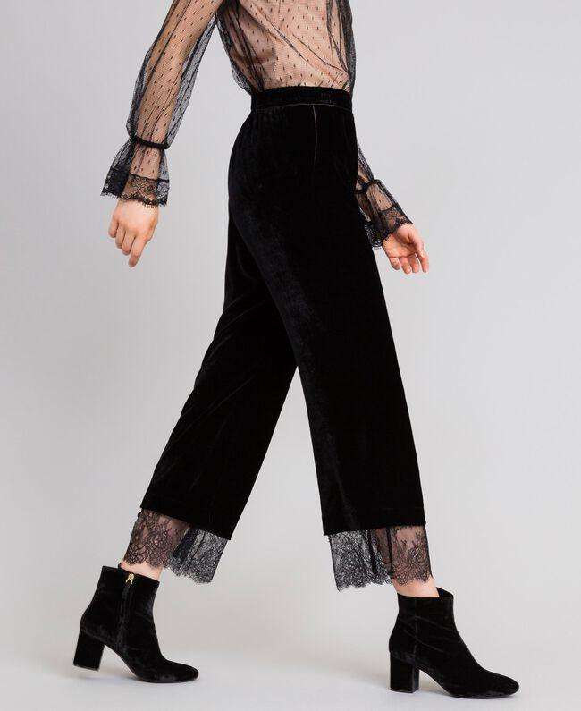 Pantalón cropped de terciopelo Negro Mujer TA826S-04