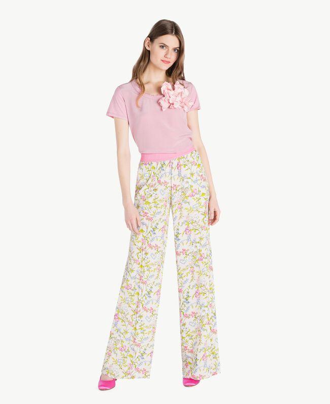 Silk T-shirt Hydrangea Pink Woman PS82HB-05