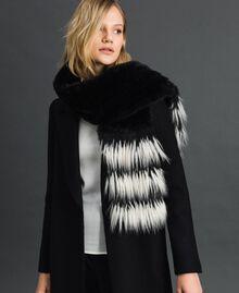 Two-tone faux fur stole Black Woman 192TA4400-0S