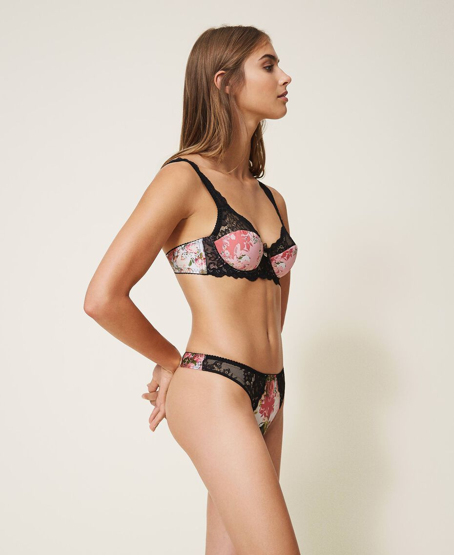 Printed g-string with lace Small Flower Print Woman 202LL6E88-02