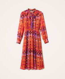 Printed lurex creponne dress Lurex Gerbera Multicolour Print Woman 202MT2410-0S